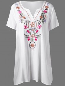 زائد حجم زهرة التطريز تي شيرت اللباس - أبيض Xl