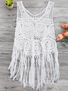 Tasselled Beach Crochet Cover Up Tank Top