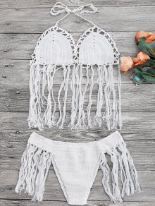 Tasselled Halter Crochet Bathing Suit