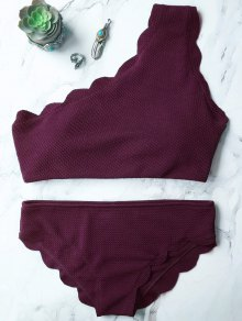 Combinaison De Bain à épaulettes Sans Fil à Une épaule - Merlot