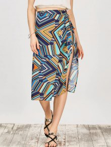 Multi Stripe Chiffon Midi Wrap Skirt - Multicolor