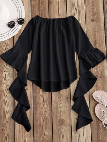 Dramatic Bell Sleeve Off The Shoulder Top - Black S