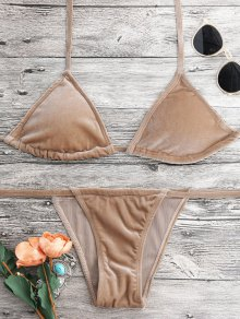 Halter Velvet Thong Bikini Set - Camel S