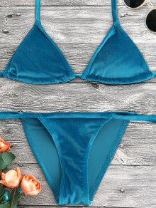 Ensemble De Bikini à Breloque En Velouté Halter - Bleu Canard Xl