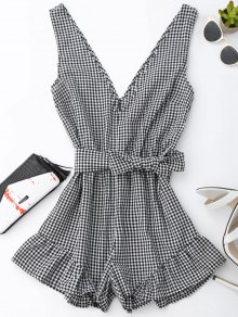 Checked Plunge Romper - Black
