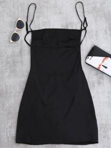 عارية الذراعين البسيطة زلة اللباس - أسود M