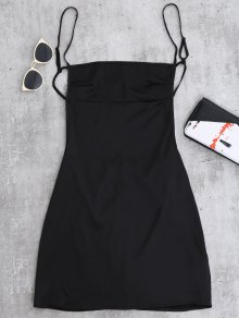 Backless Mini Slip Dress - Noir