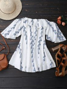 Off Shoulder Butterfly Sleeve Ruffle Dress - White