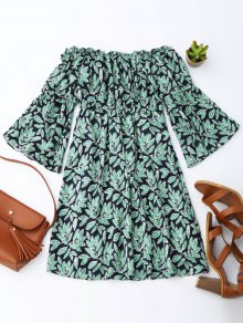 Leaf Print Flare Sleeve Off Shoulder Dress