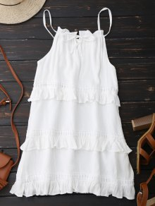 Slip Ruffle Summer Dress - White S