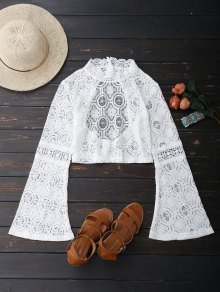 Low Back Flare Sleeve Lace Crop Top - White S