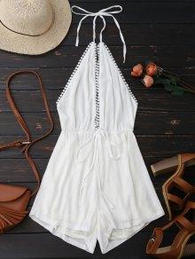 Plunge Halter Drawstring Linen Romper - Blanc
