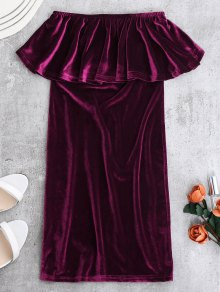 Ruffles Cruched Velvet Bodycon Dress - Purplish Red S