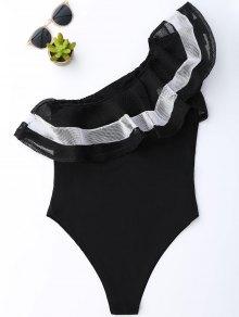 One Shoulder Mesh Ruffle Bodysuit