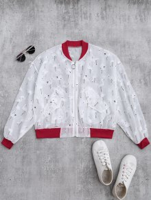 Crane Color Block Sunblock Baseball Jacket - Red L