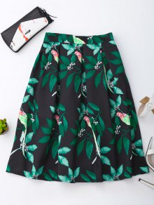 Leaf And Birds Print Skirt