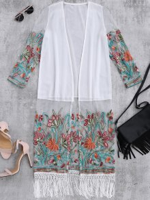 Floral Embroidered Mesh Fringed Dust Coat - White