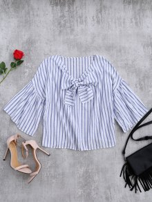 Striped Flare Sleeve Knot Front Top