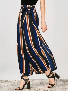 Striped Wide Leg Palazzo Pants - Stripe S