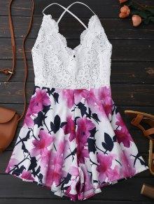 Open Back Lace Floral Wide Leg Romper - White L