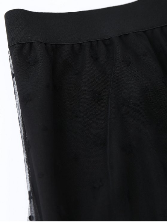 High Low Star Mesh Skirt - BLACK ONE SIZE Mobile
