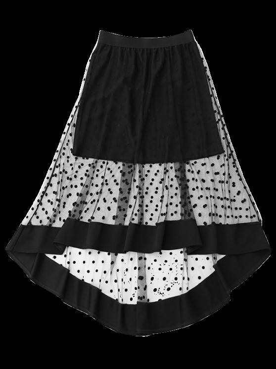 High Low Swiss Dot Mesh Skirt - BLACK ONE SIZE Mobile