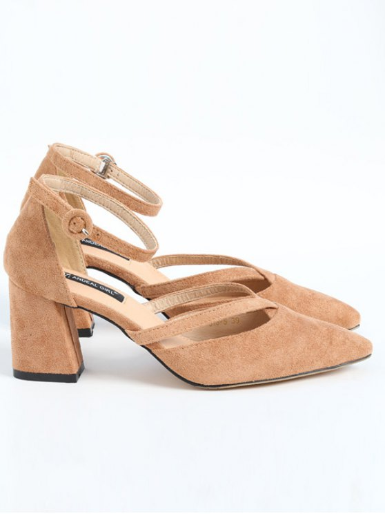 Pointed Toe Block Heel Cross Strap Pumps - APRICOT 37 Mobile