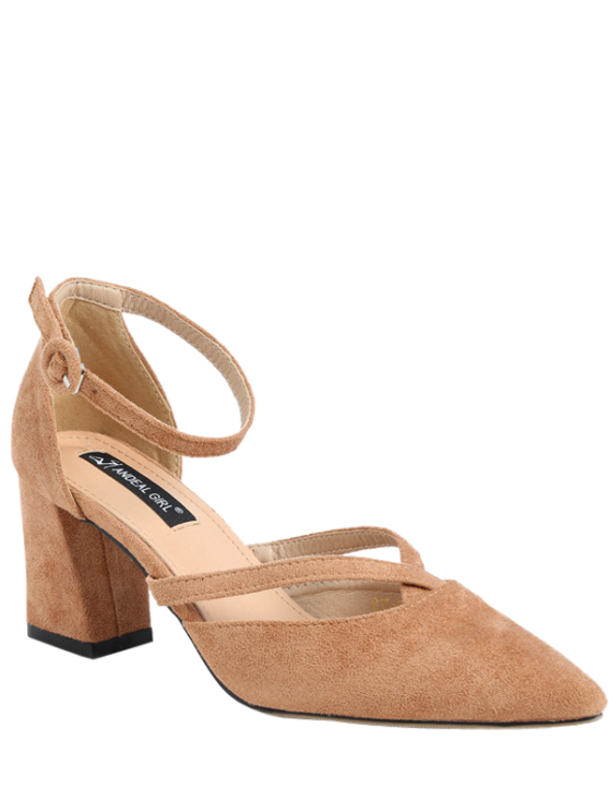 Pointed Toe Block Heel Cross Strap Pumps - APRICOT 39 Mobile