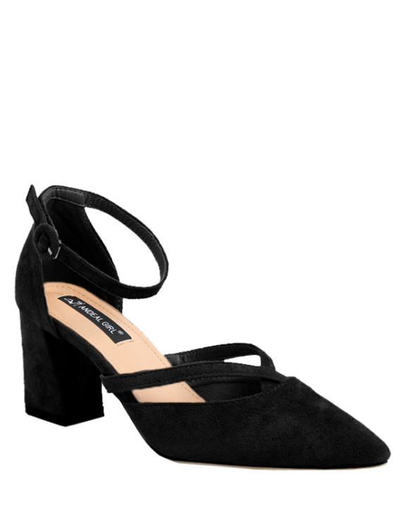 ladies Pointed Toe Block Heel Cross Strap Pumps - BLACK 37