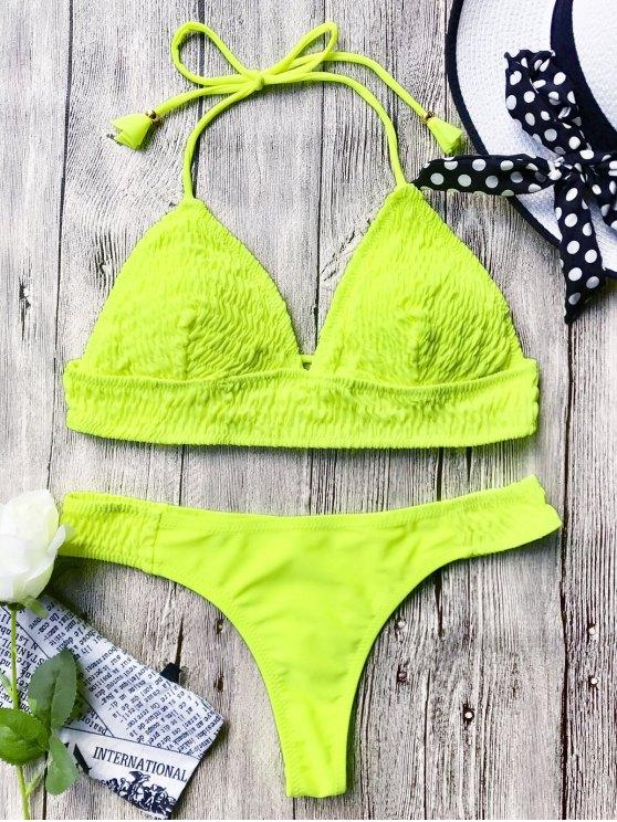 Smocked Bikini Bajo Halter escotado - Neón Amarillo S