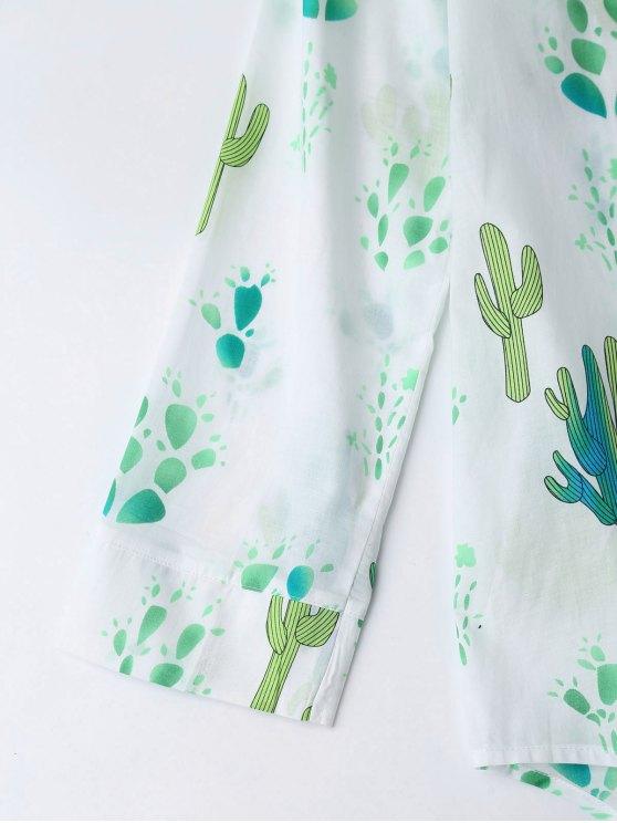 High Low Cactus Print Shirt Loungewear - WHITE XL Mobile
