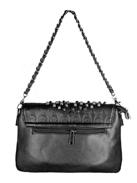 Black Metal Rivets Chain Shoulder Bag - BLACK  Mobile