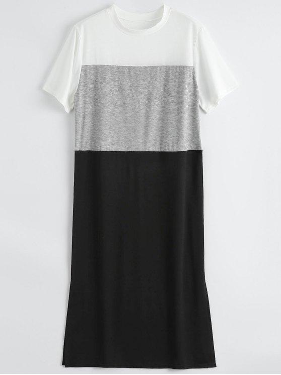 Color Bloque Slit Shift Camiseta Vestido - Negro S