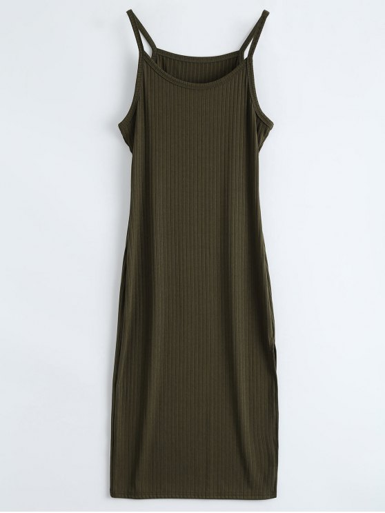 buy Ribbed Slit Bodycon Tank Dress - ARMY GREEN L
