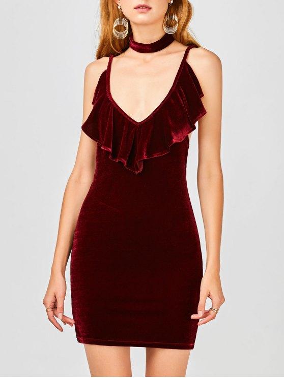 women Ruffles Velvet Bodycon Dress - WINE RED 2XL