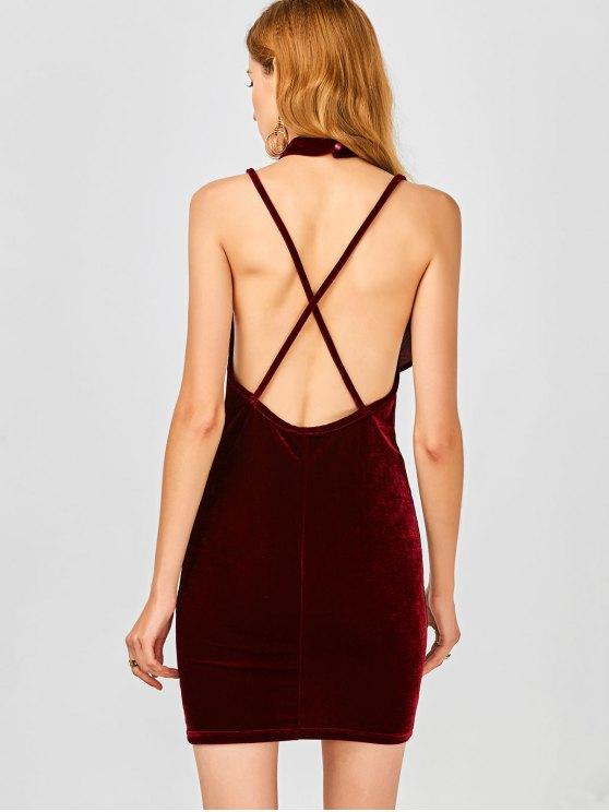 Ruffles Velvet Bodycon Dress - WINE RED 2XL Mobile