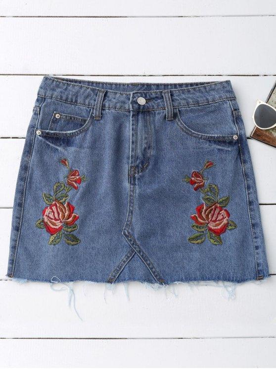 online Rose Embroidered Denim Skirt - DENIM BLUE L