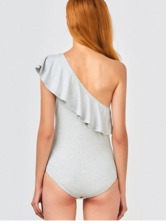 Ruffles Skinny One Shoulder Bodysuit - GRAY 2XL Mobile