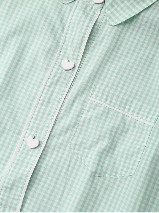 Plaid Heart Button Shirt Loungewear with Blindfold - LIGHT GREEN XL Mobile