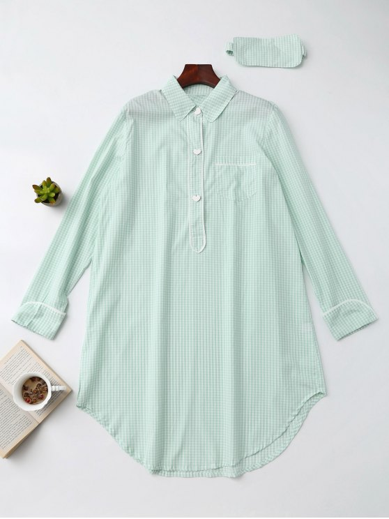 Camisa Plaid Heart Button Loungewear con la venda de ojos - Verde Claro S