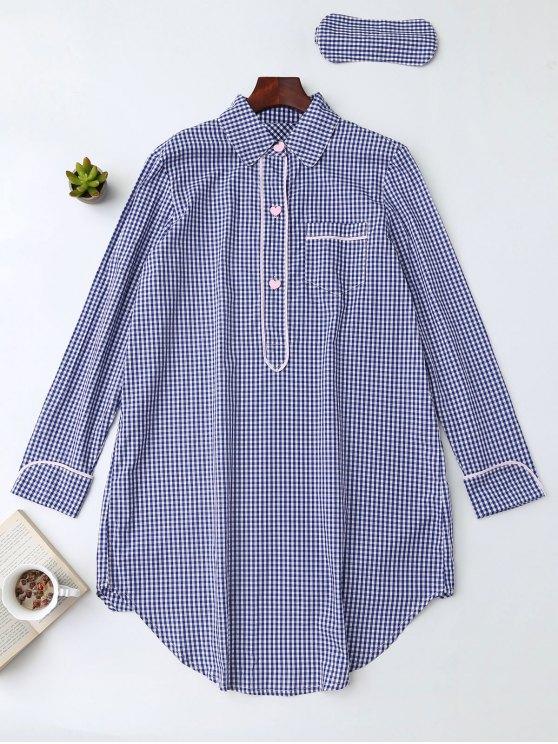 Camisa Plaid Heart Button Loungewear con la venda de ojos - Azul M