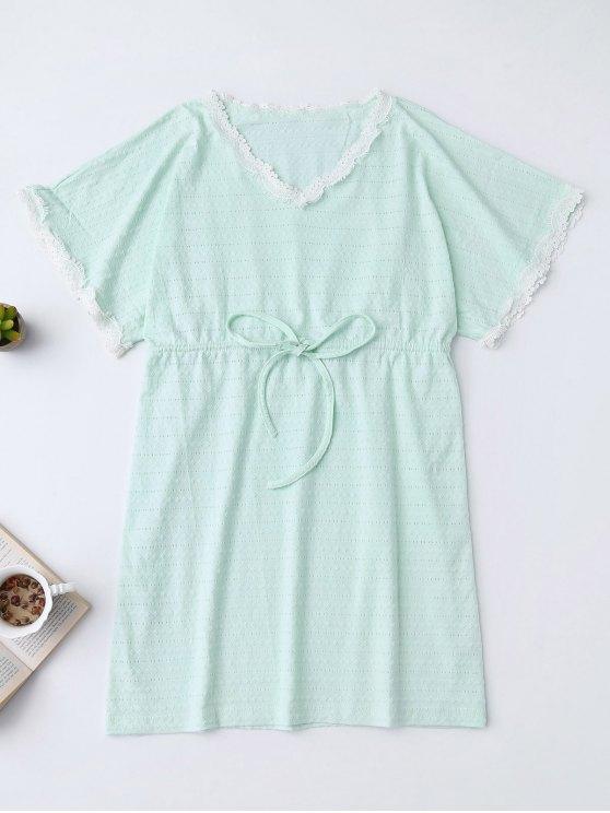 Recorte de cuello en V con cordón - Verde Claro L