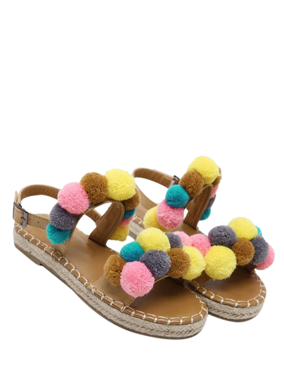 buy Flat Heel Stitching Pompon Sandals - LIGHT BROWN 37