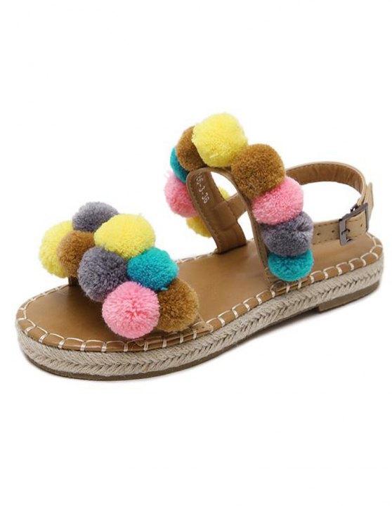 Flat Heel Stitching Pompon Sandals - LIGHT BROWN 38 Mobile