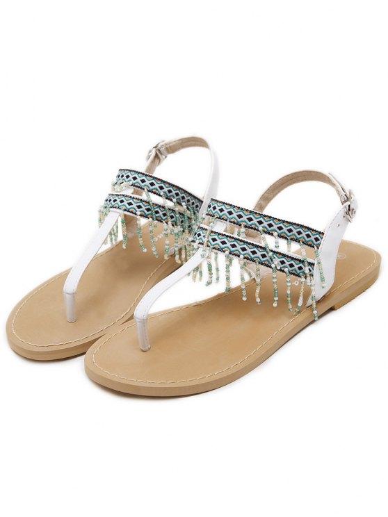 Fringe Geometric Pattern Beading Sandals - WHITE 39 Mobile