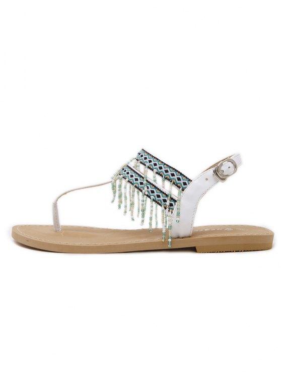Fringe Geometric Pattern Beading Sandals - WHITE 37 Mobile