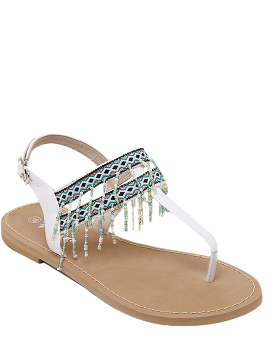 best Fringe Geometric Pattern Beading Sandals - WHITE 37
