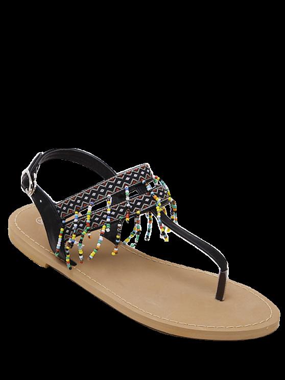 new Fringe Geometric Pattern Beading Sandals - BLACK 39