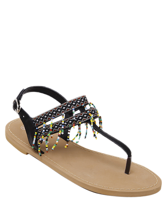 Fringe Geometric Pattern Beading Sandals - BLACK 38 Mobile