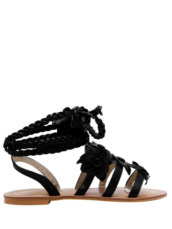 fashion Flowers Tie Up Weaving Sandals - BLACK 38